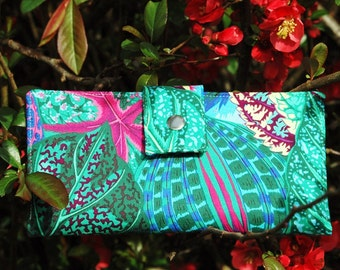 Wallet clutch womens vegan wallet handmade green and blue leaves with purple