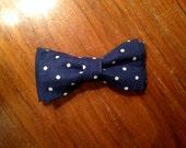 blue and white polkadot toddler boy bowtie