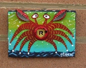 Original Painting ~ Redds Apple Ale Bottle Cap Crab
