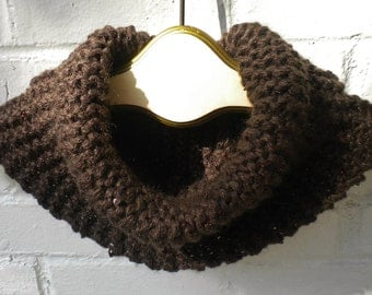 Knitted Cowl NeckWarmer in Chocolate Brown with Topaz Sequins