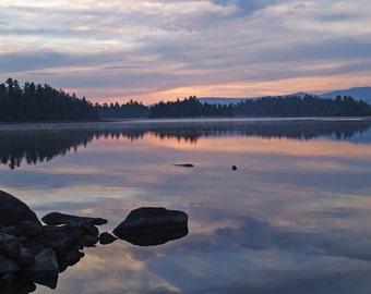 Sunrise Photograph,  Peaceful Sunrise  Fine art print, Maine lake, New England photo, blue, pink, purple, home decor