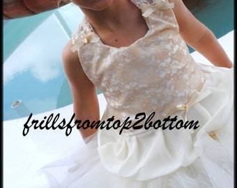 Ivory Gold Lace overlay Flower Girl Dress . Tutu Skirt . Halter Top ... available in sizes up to a 5T