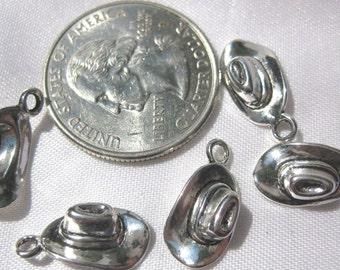 Cowboy Cowgirl Farmer Hat Charm 5 pieces Tibetan Silver Jewelry Supply