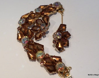 Vintage Juliana Topaz Kite Bracelet Earrings Frosted