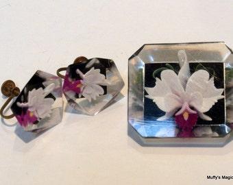 Vintage Reversed Carved Orchid Lucite Brooch Earrings Set