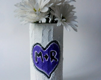 Custom Couple Gift / Vase with initials carving / purple heart  / Personalized gift / wedding gift / customized vase / made-to-order