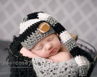 Elf Hat in Black, White, and Grey/Oakland Raiders