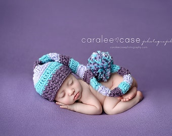 Baby Girl Elf Hat in Lavender, Aqua Mint,  and Dusty Purple