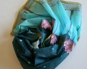 Hand painted silk scarf (blue grey pink purple colors, floral)- Made to order