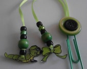 Caterpiilar Bookmark with green beads