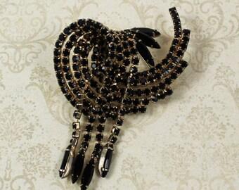Vintage Swirling Dangle Jet Black and Gold Rhinestone Brooch