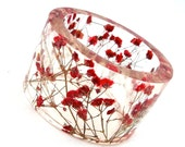 Size Extra Small  Botanical Resin Bangle. Petite Contemporary Resin Bracelet.   Red Baby's Breath Bracelet. Personalized Engraved Gift
