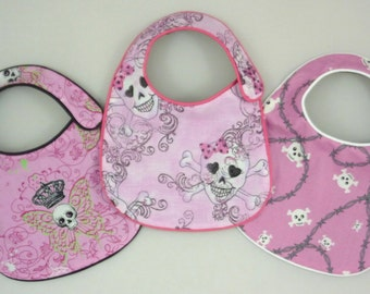 Baby Girl Skulls Baby Bibs - Pretty in Pink - set of 3 bibs