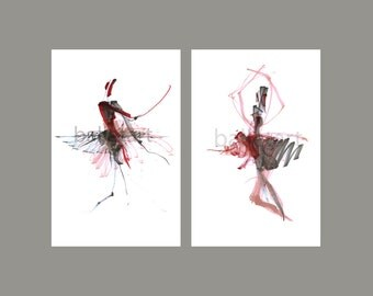 Ballet Art - set of 2 ,  11 by 17  -  Modern Expression of Red, Red Dance for Valentine - art print