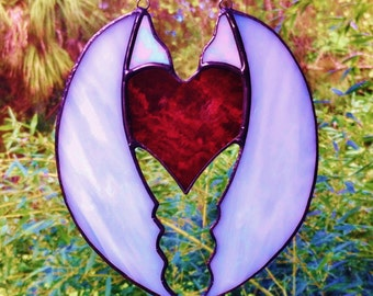 Custom Original Red Stained Glass Heart Sun Catcher wrapped in Angel Wings!