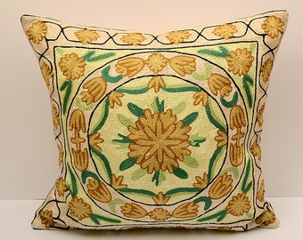 16x16 suzani pillow, handmade silk cushion, very beautiful