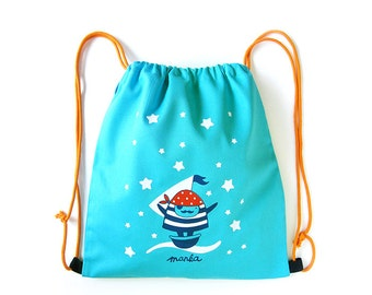 Pirate Manka drawstring bag for kids - canvas - srceenprint - blue - white - red - dotted