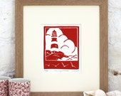 Hand Printed The Lighthouse Linocut Print in red