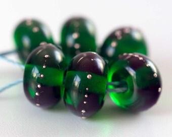 Emerald Green Lampwork Beads, Handmade Glass Beads, Round Spacer Bead Set (6)