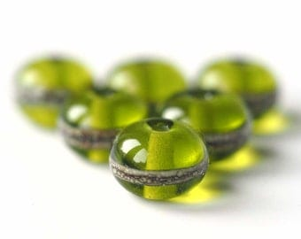 Spring Green Spacer Bead Set - Set of 6 MTO Lampwork Glass Beads