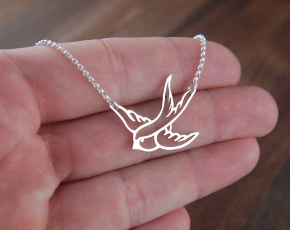 Small sterling silver bird in flight necklace, swallow, bird pendant, sparrow, bird necklace, bird charm, silver bird necklace