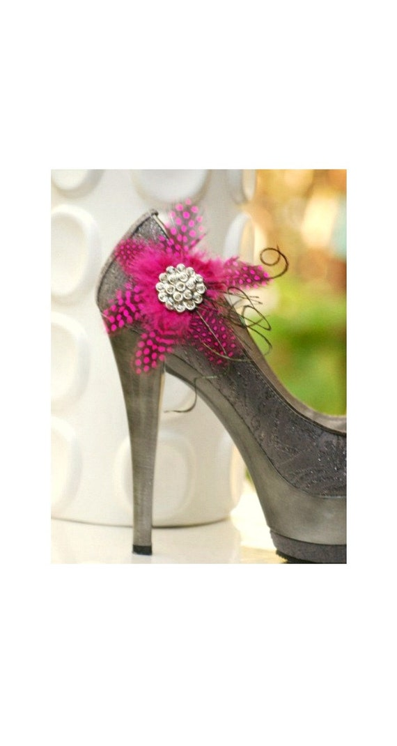 Fuschia Guinea Feathers Shoe Clips Flower & Rhinestone Crystals, Couture Bridal Bride Bridesmaid, Breast Cancer Awareness, Baby Shower Wear