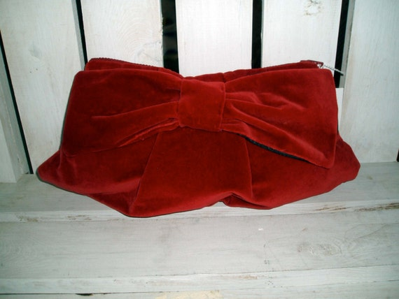 Classic Large Red Velvet  Clutch with Big Bow