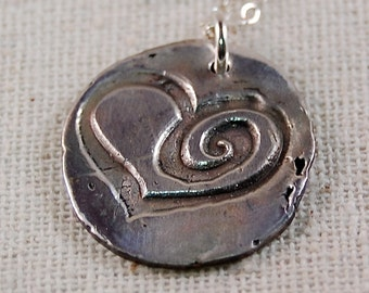 Personalized Necklace, Mother Necklace, PMC Metal Clay Heart, Fine Silver Necklace
