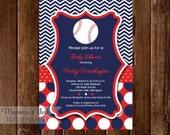 Chevron and Polka Dot Baseball Baby Shower Invitation - Baseball Invite - Baseball Invitation - Shower Invite - PRINTABLE INVITATION DESIGN