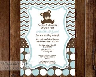 Chevron Polka Dot Teddy Bear Baby Shower Invitation - PRINTABLE INVITATION DESIGN