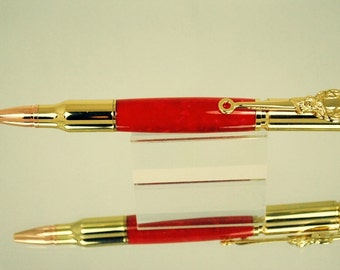 Perfect Gift Deer Hunter , Huntress, Right to Bear Arms NRA, 30 Cal Bullet Pen, Handmade 10k Gold, Red Crush Acrylic, Rose Gold