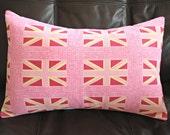 Pillow Union Jack pink fuchsia cream 18 x 12 inch decorative lumbar cushion cover london British flag