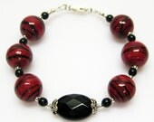 RESERVED for Susan SALE Red and Black Bracelet - Red Glass Bracelet - Fashion Bracelet - Sterling Silver - Matching Earrings - 7 1/2