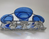 COBALT Blue   and Silver Triple Space  Angel                  CANDLE HOLDER