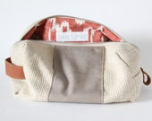 Cosmetic bag Ikat interior reclaimed leather