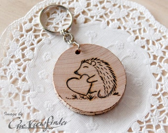Wooden Charms, wine charm,  Hedgehog Wooden Keychain
