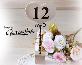 Rustic Wedding table number, wooden heart,  7 inches tall table number holder,  - from set of 6 pieces,