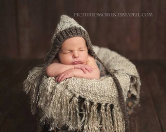 Woodland Pixie Texture Bonnet New Knit PATTERN ONLY True Newborn Size Baby Boy Girl Unisex Hat Photo Photography Prop