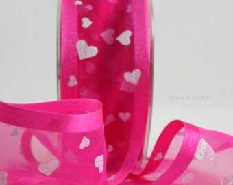 """Hot Pink Sheer Ribbon/White Hearts, 1.5"""" wide Ribbon by the yard, Gift Wrapping, Valentine's Day, Weddings, Hot Pink Trim, Party Supplies"""