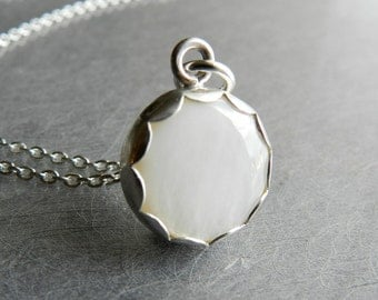 """Simple White Necklace Sterling Silver, Full moon Pendant,  Mother of Pearl Jewelry, 18"""" Sterling Chain, Wedding Jewelry, Graduation Gift"""