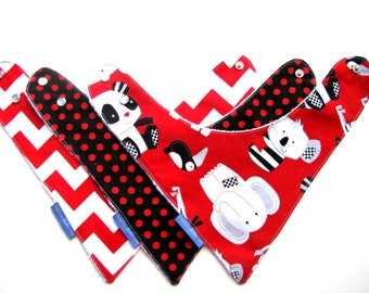Baby Bibs for Boys or Girls  Red Black and White  278  abc