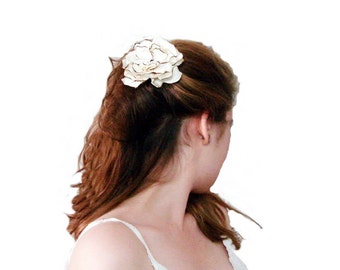 50% Off , Light cream Retro bride hair flowers hanmade fabric rose/Cream Ivory rose hair flower