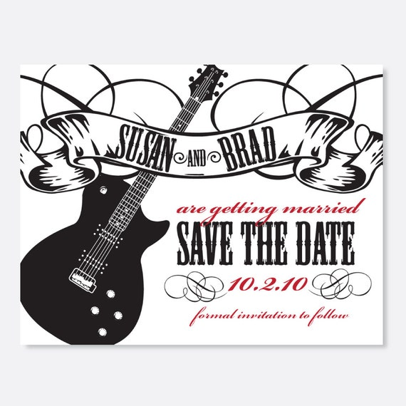 Rock 'n Roll Save the Date, Black and White Invitation, Custom Invitation, Modern Invitation, Music Invitation, Guitar Invitation