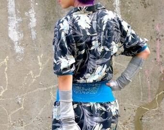 Upcycled Silk Shirt Dress Gray Hawaii Print                           Made in England UK