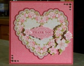 Handmade Thank You Card - Large 3D Floral Heart
