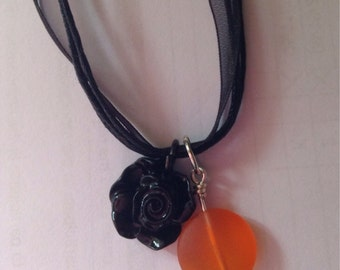 Orioles sea glass and flower necklace