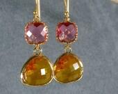 Fuchsia and Carnelian Glass Gold Bridesmaid Earrings, Gold Earrings, Bridal Earrings, Wedding Earrings, Bridesmaid Gifts (416G)