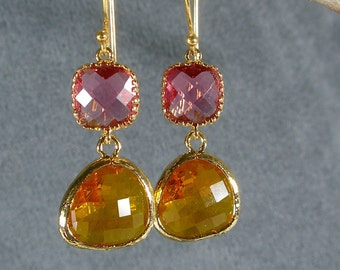 Fuchsia and Carnelian Glass Gold Bridesmaid Earrings, Gold Earrings, Bridal Earrings, Wedding Earrings, Bridesmaid Gifts (416G)