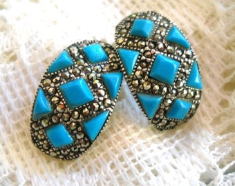 Sterling Silver, Marcasite and Turquoise Earrings