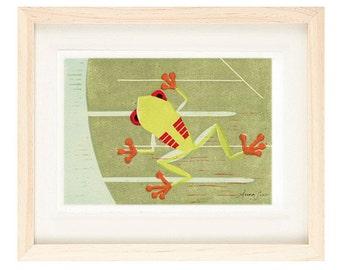 Red-Eyed TREE FROG Linocut Reproduction Art Print: 4 x 6, 5 x 7